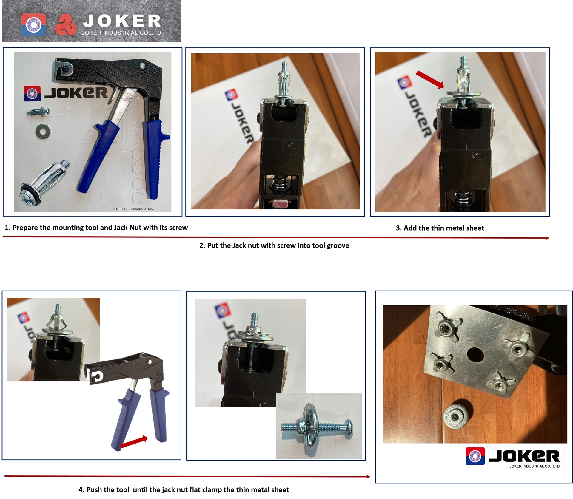Jack nuts setting method by manual tool